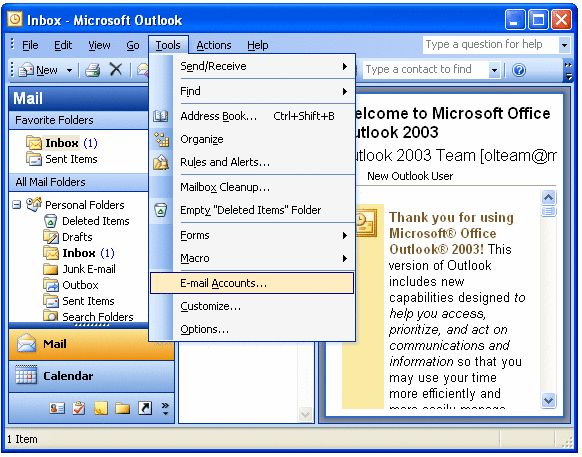 Leaving a copy on the server - Outlook 2003 - 1