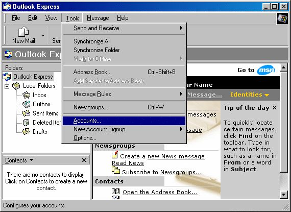 Leaving a copy on the server - Outlook Express - 1