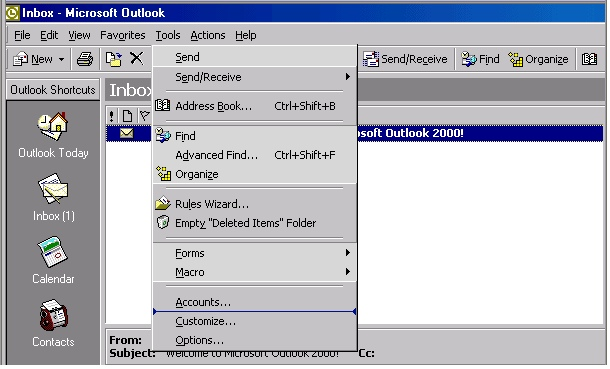 Outlook 2000 account creation - 1