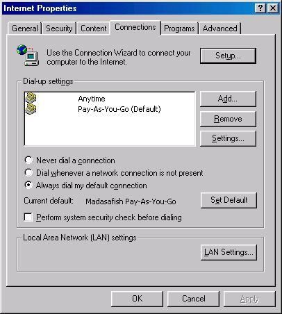 Setting default connection settings 98 - 1